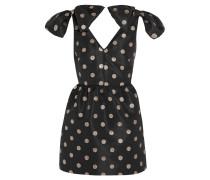 Glitter-finished Polka-dot Faille Mini Dress Schwarz