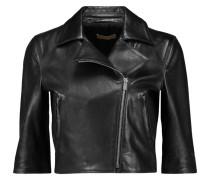 Cropped Leather Jacket Schwarz