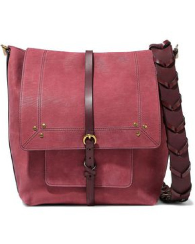 Django Leather-trimmed Nubuck Shoulder Bag Burgundy Size --