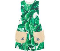 Appliqued Cotton-blend Mini Dress Grün