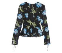 Evelyn open-back embellished printed silk-georgette blouse