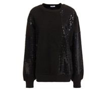 Sweatshirt aus Baumwollfrottee mit Mesh-einsatz und Pailletten
