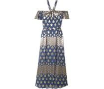 Hetty Off-the-shoulder Metallic Fil Coupé Silk-blend Maxi Dress