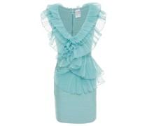 Ruffled Mesh-paneled Bandage Mini Dress