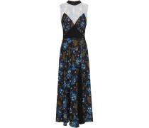 Lace-paneled Floral-print Crepe De Chine Midi Dress
