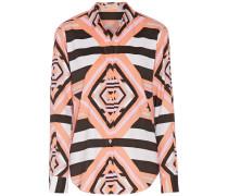 Printed Crepe De Chine Shirt Pink