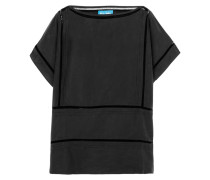 Pointelle-trimmed Washed-silk Top Navy