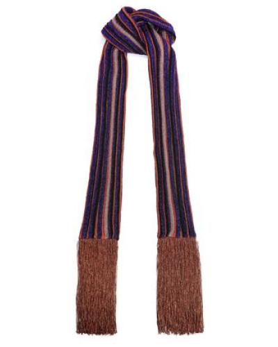 Fringed Metallic Striped Crochet-knit Scarf Purple Size --