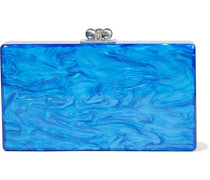 Woman Jean Marbled Acrylic Box Clutch Light Blue