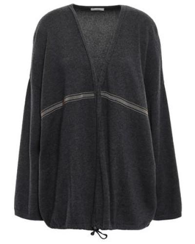 Woman Bead-embellished Cashmere Cardigan Black