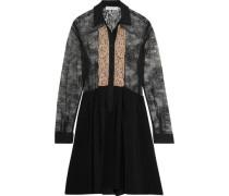 Lace-paneled crepe mini dress