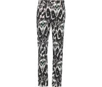Nina Printed Mid-rise Slim-leg Jeans Schwarz