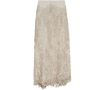 Embroidered Tulle Maxi Skirt Champignon