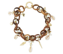 Castagno Gold-tone, Wicker And Shell Necklace