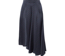 Asymmetric Polka-dot Silk-satin Midi Skirt Navy