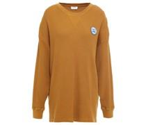 Sweatshirt aus Baumwolle in Waffelstrick mit Applikationen