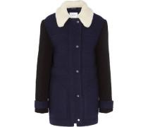 Faux shearling-trimmed wool-blend felt coat