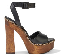 Faira Chain-trimmed Leather Platform Sandals