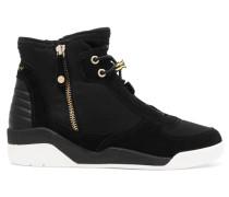 Callie Neoprene, Suede And Leather High-top Sneakers Schwarz