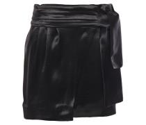 Cobalt Crinkled-satin Mini Wrap Skirt