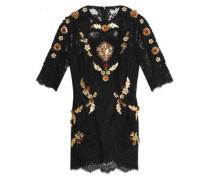Embellished lace mini dress