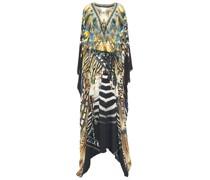 Belted Embellished Printed Silk Crepe De Chine Kaftan