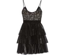 Metallic Tiered Lace And Organza Dress Schwarz