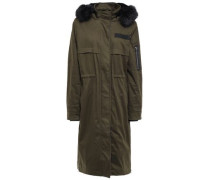 Faux Fur-lined Cotton-blend Hooded Parka Army Green