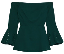 Woman Off-the-shoulder Faux Pearl-embellished Wool-crepe Top Forest Green