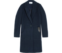 Leather-trimmed Boiled Wool Coat Navy
