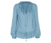 Ruffled silk-crepe blouse