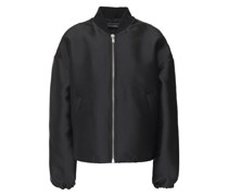 Ruched Satin-twill Bomber Jacket