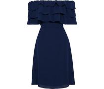 Off-the-shoulder Tiered Crepe Dress