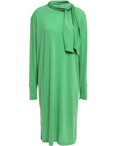 Knotted Stretch-crepe Dress Green