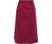 Button-embellished Twill Midi Skirt