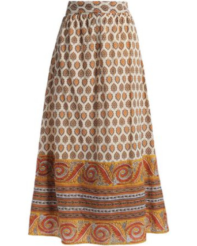 Soleil Printed Cotton Midi Skirt Saffron