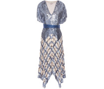 Akiko Belted Sequined Tulle And Georgette Midi Dress