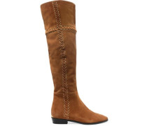 Whipstitched nubuck knee boots
