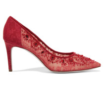 Embellished Lace And Leather Pumps Rot