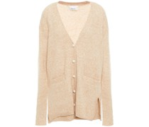 Faux Pearl-embellished Brushed Knitted Cardigan