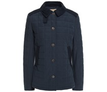 Stundland Jacke aus Gestepptem Tweed mit Besatz aus Velourslederimitat