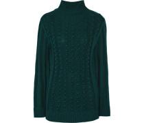 Ribbed-knit Wool-blend Turtleneck Sweater Smaragdgrün