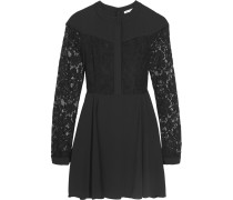 Mira Lace-paneled Chiffon Mini Dress Schwarz
