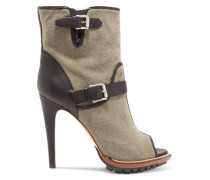 Croft leather-trimmed canvas ankle boots