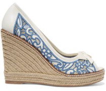 Lucia embroidered mesh and leather wedge espadrilles