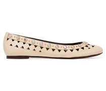 Kingsbridge Embellished Laser-cut Leather Ballet Flats Creme
