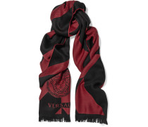 Fringed-trimmed Intarsia Wool Scarf Rot