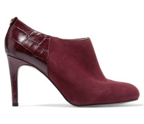 Sammy Croc-effect Leather And Suede Boots Burgunder