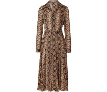 Belted Snake-print Silk-crepe Midi Dress
