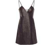 Faux Croc-effect Leather Mini Wrap Dress